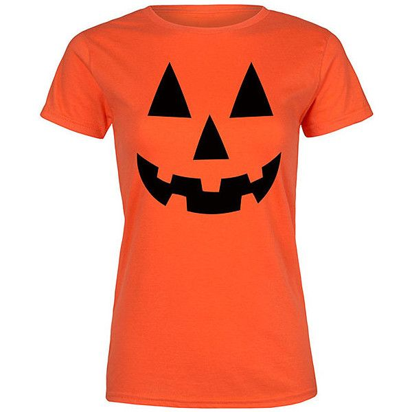 Festuvius Orange Pumpkin Face Fitted Tee ($13) ❤ liked on Polyvore featuring tops, t-shirts, orange tee, orange t shirt, fitted tops, fitted cotton t shirt and fitted t shirts