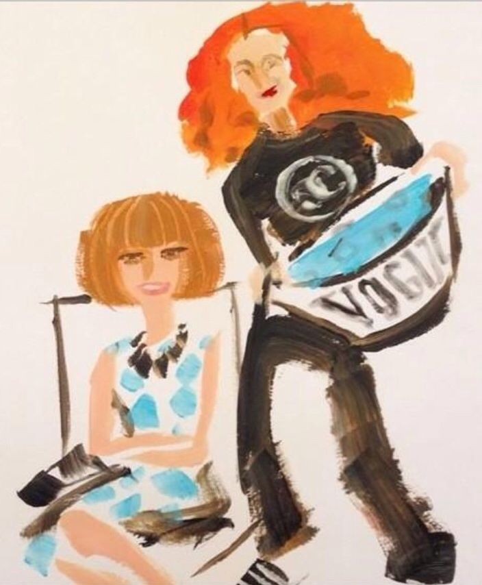 Anna Wintour and Grace Coddington, by Donald Drawbertson, fashion illustration.