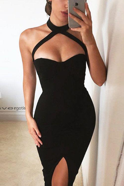 Sleeveless Front Split Halter Midi Dress in Black - US$23.95 -YOINS