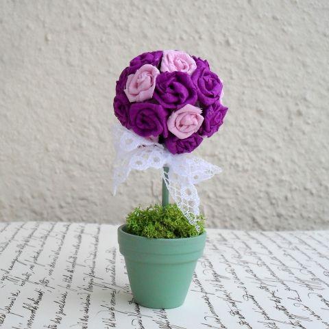 Örökké virágzó rózsafa -  dekoráció, köszönetajándék - 10,5 cm, Dekoráció, Otthon, lakberendezés, Esküvői kellékek, Húsvéti mindenféle, #meska #topiary
