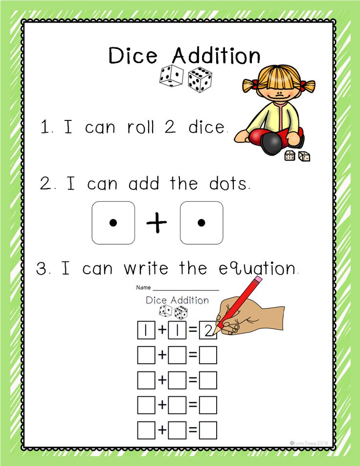 Dice Addition Kindergarten math games, Math addition