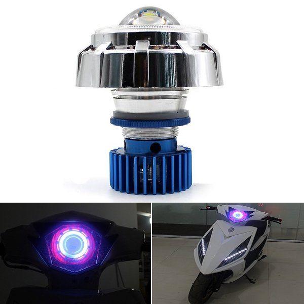 12V Motorcycle LED Hi/Lo Beam Laser Angel Eyes Headlight