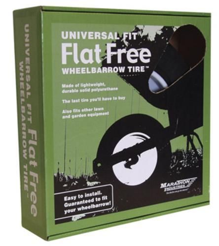"Marathon 00265 Universal Fit Flat Free Wheelbarrow Tire, 14.5"" D"