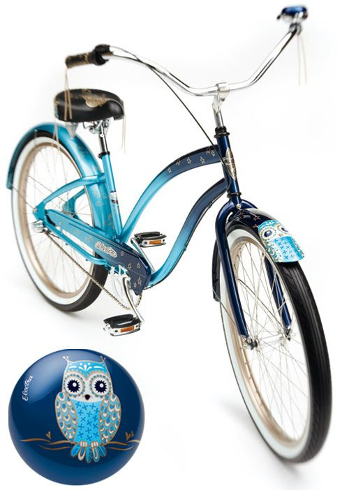 Night Owl bicycle by Electra Bike (found via My Owl Barn).  Accessories are also available.
