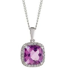 Necklaces - White Gold Diamond: Amethyst And Diamond Necklace!
