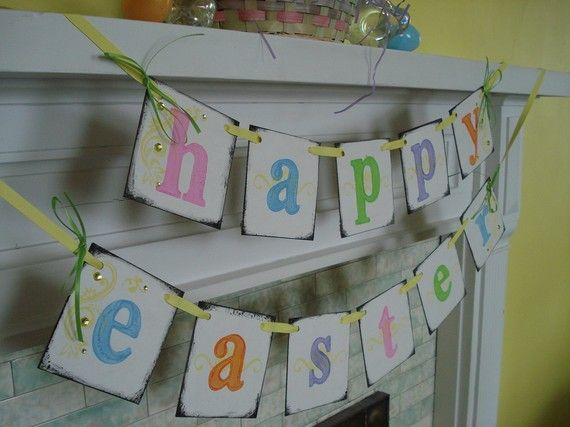 Easter banner: Decor Ideas, Wall Banners, Crafts Ideas, Easter Banners, Mantels Ideas, Easter Mantles, Fun Ideas, Happy Easter, Easter Ideas
