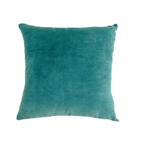 Teal Velvet Throw Pillow