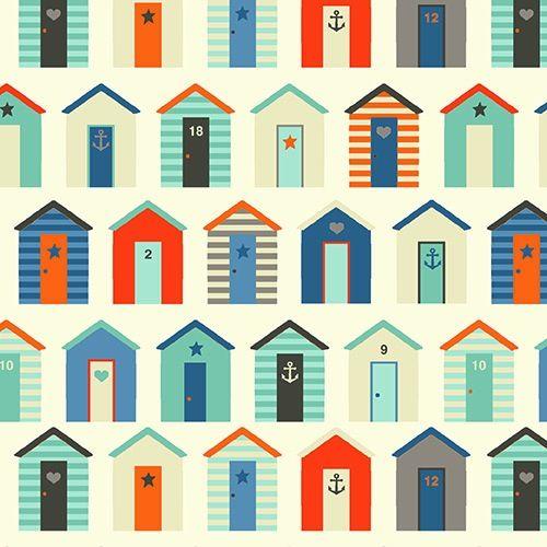 Makower Uk - Nautical - Beach Huts - Cream : Sew Modern