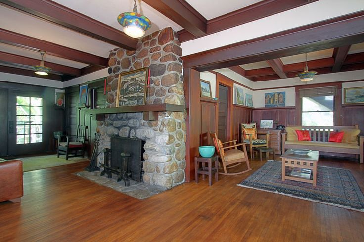 Stone Craftsman Fireplace Bungalow Fireplaces