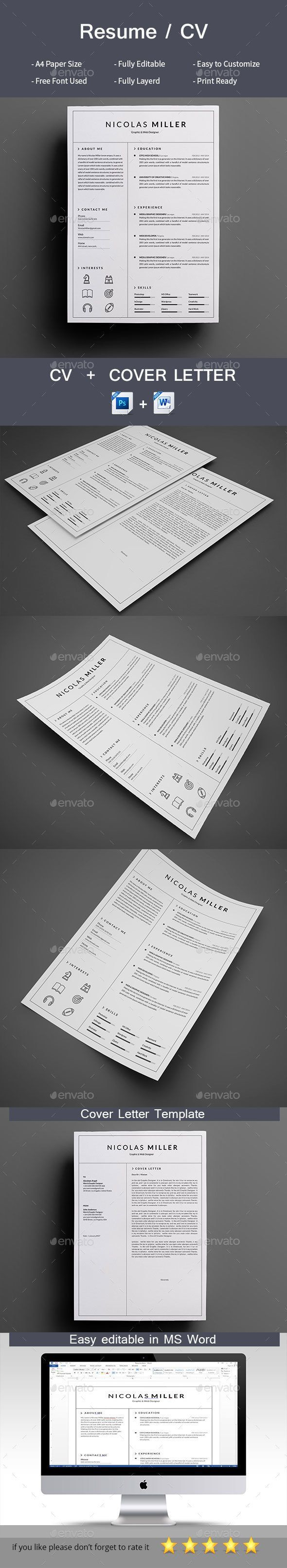Clean Resume — Photoshop PSD #cv #simple resume • Download ➝ https://graphicriver.net/item/clean-resume/19255752?ref=pxcr