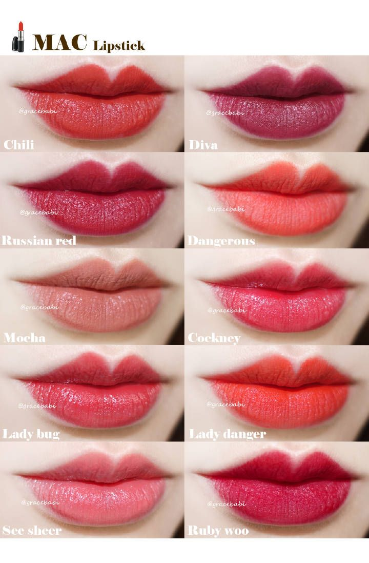 lipstick, Mac lipstick swatches