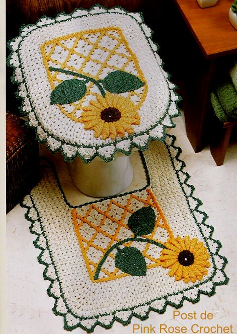 \ PINK ROSE CROCHET /: Tapetes Girassol em Crochê para Banheiro