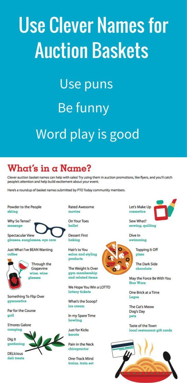 fundraising infographic : Get our list of auction basket names!