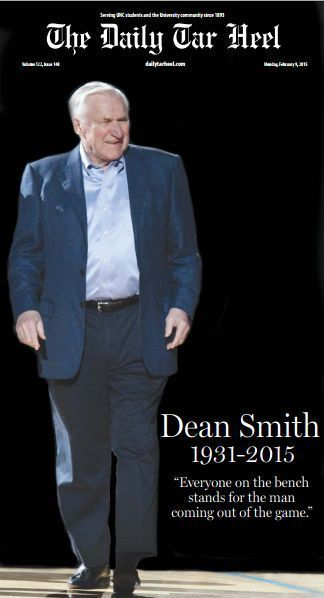 dean smith daily tar heel dth commemorative north carolina tarheels unc 16x20 hd…