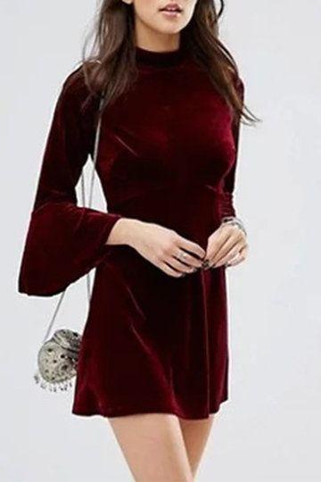 Burgundy Flared Sleeves Velvet Mini Dress with Splited Back