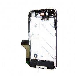 iPhone 4 Mid Plate Silver Bezel ( Complete )  Kit Includes: • Mid plate • Charge port with flex • Sensor cable with power button • Volume buttons and headphone jack.  • Home button and home button flex • Front camera • Loudspeaker and antenna assembly • Battery shield cover • Sim Card Holder • Ear Speaker • Vibrator assembly