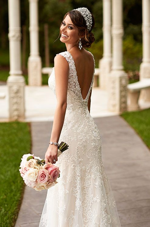 Beautiful handcrafted lace wedding dress by Stella York, Spring 2015