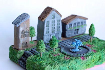 Миниатюрный дворик - синий,декор для интерьера,интерьерное украшение,подарок на любой случай