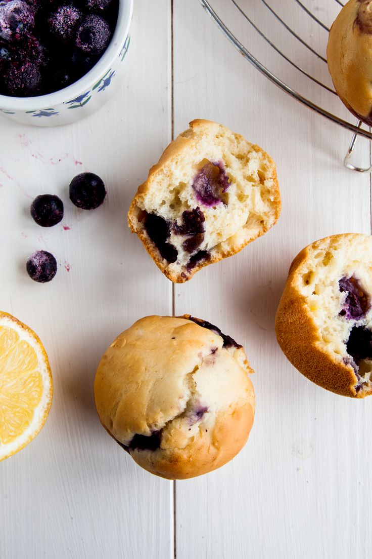 Low Fat Lemon Blueberry Muffins (Vegan) - Only 150 calories each but surprisingly filling!