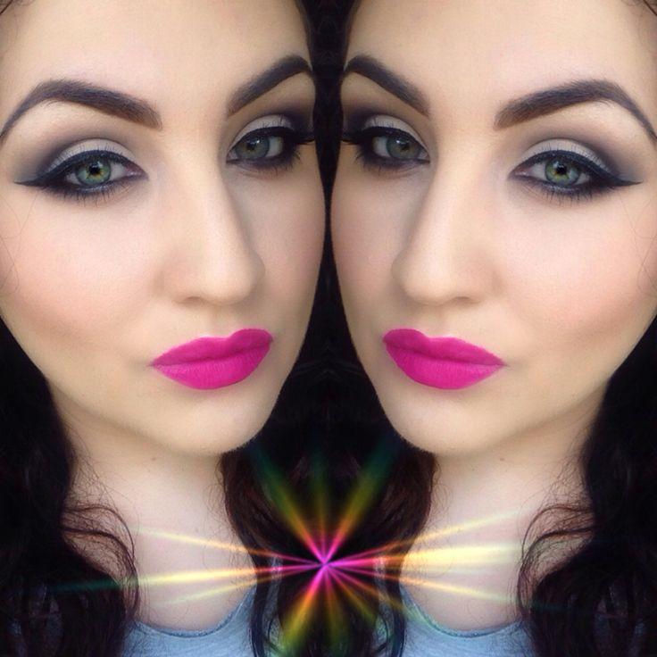 Bright pink lipstick makeup