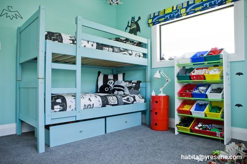 Caleb's room is a cool, gender-neutral space painted in Resene Renew.  http://www.habitatbyresene.co.nz/debbie-gets-fearless-colour