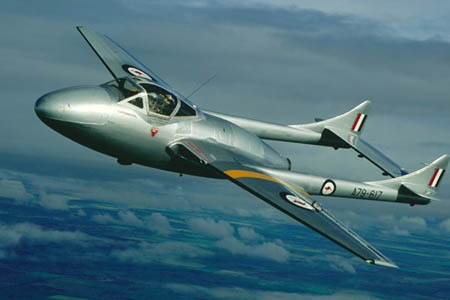 Entering service in 1946 the De Havilland Vampire was Australia's first fighter jet and first jet trainer. Vampires in the RAAF used Rolls-Royce engines that were more powerful than the English models which were powered by the Goblin engines.