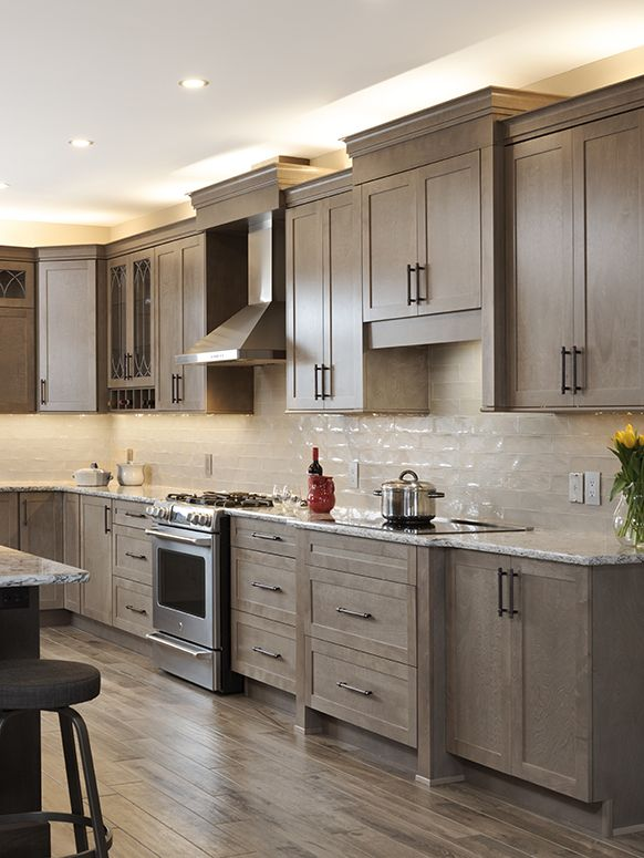 Taupe Kitchen Cabinets Kitchen Gallery   Taupe Cabinets and Flooring with Granite