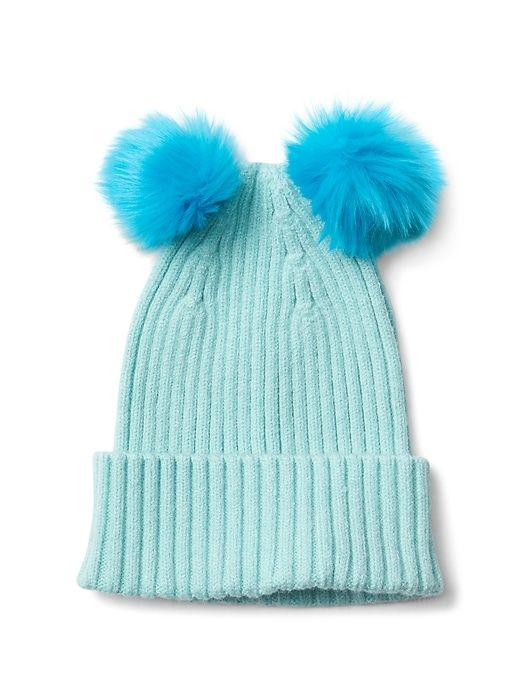 Gap Girls Pom-Pom Ribbed Beanie Surf Spray