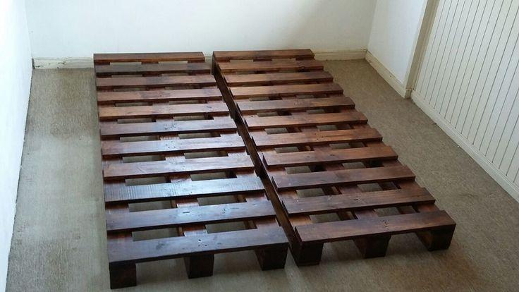 Duas bases de pallet para sof cama madeira natural - Bases para cama ...