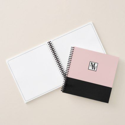 #Blush Pink and Black Chic Personalized Monogram Notebook - #trendy #gifts #template