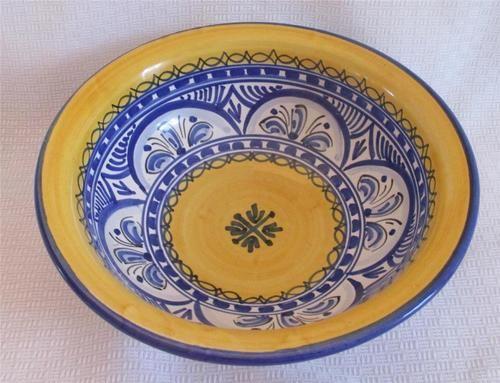 Spanish Art Pottery de La Cal Barreira Puente Bowl Wall Decor Blue Yellow Spain   eBay