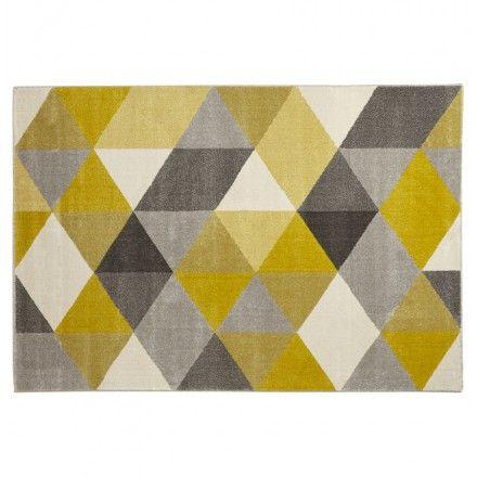 Aux formes géométriques et aux couleurs rétros, le tapis design style scandinave rectangulaire GEO (230cm X 160cm) (jaune, gris, beige) apportera une touche glamour à votre intérieur.