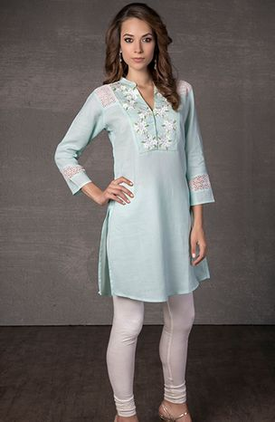 Linen kurti embellished with lace and satin applique work