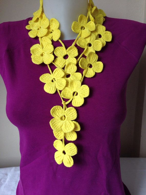 Floral Crochet Scarf in Yellow by Yellowcrochet on Etsy