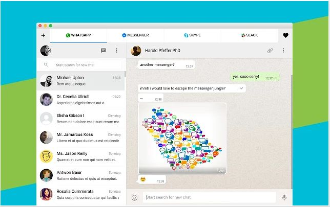 All-in-one Messenger, a simple Google Chrome add-ons which combines chat and messaging services into one simple application. In this Chrome app we are able to use Facebook Messenger, WhatsApp, Skype, Google Hangouts and many more.  The Chrome app suports more than 30 chat services such as WhatsApp Skype Google Hangouts Facebook Messenger Steam GroupMe Yahoo Messenger Flowdock Telegram WeChat...
