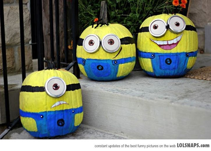Minion Pumpkins, No Carve Pumpkin Ideas for Halloween Decoration, http://hative.com/no-carve-pumpkin-ideas-for-halloween-decoration/,
