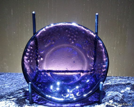 Purple Grape Vine Textured Small Slumped Fused Glass Dish, Ring, Trinket, Soap, Candy