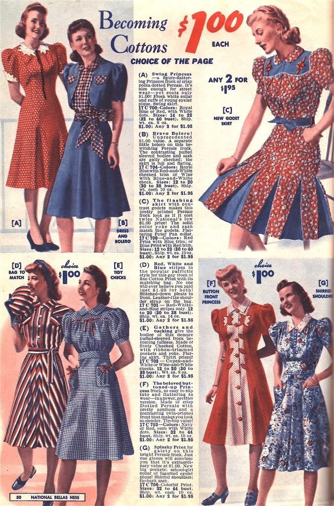 Fashion 1940s Two Female Models Flirty 40s Style Evening: National Bella Hess Catalog