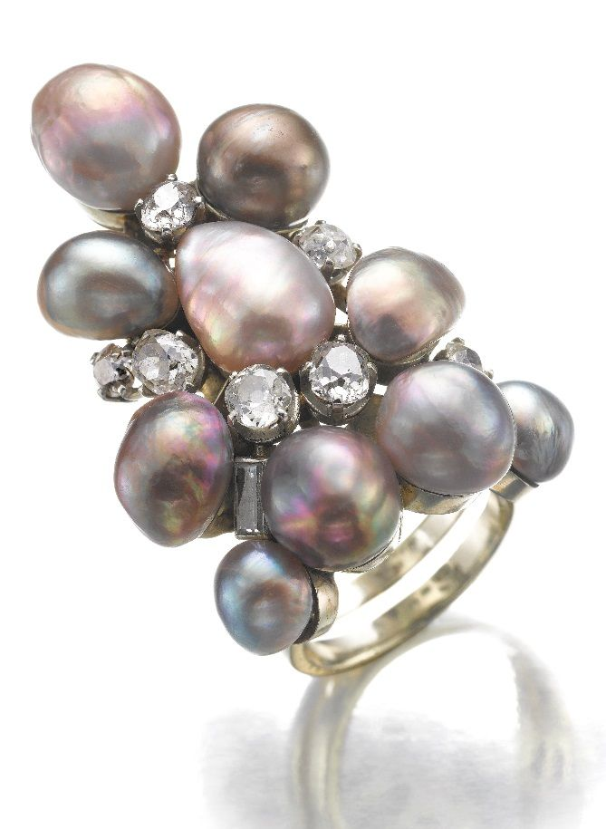 FROM THE PERSONAL COLLECTION OF SUZANNE BELPERRON. A vintage gem set and diamond ring, Suzanne Belperron, circa 1935. The variously shaped natural and cultured pearls of aubergine tints highlighted with circular-cut diamonds and one baguette, French assay marks and indistinct maker's marks for Groëne et Darde. #Belperron #vintage #ring