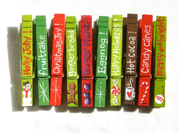 10 CHRISTMAS CLOTHESPIN painted and glitter by SugarAndPaint, $27.50
