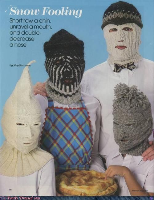 Possibly the most horrifying craft idea/family portrait. Is that kid poking the pie? More importantly WTF if the white mask? So wrong!