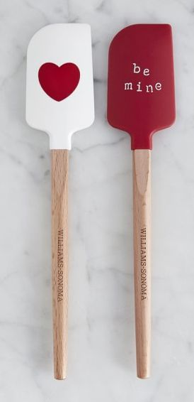 heart and 'be mine' spatulas  http://rstyle.me/n/vnkh2pdpe