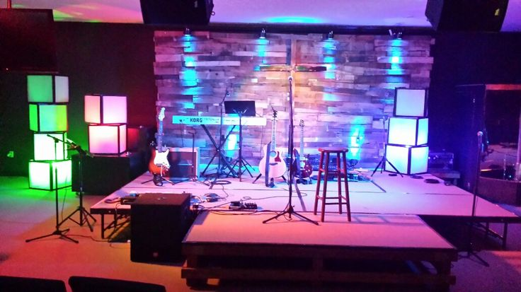 Billy Hardy from Lafayette Community Church in Lafayette, IN brings us these stacks of light boxes and pallet deck for their back wall. They have a very small stage area and low ceilings. This makes some designs difficult. But they decided to go ahead and try to to incorporate some design elements to try and enhance the worship experience. When they built the wall, they laid boards over each other in a seemingly random pattern to create the 3 dimensional feel to the project. After the pallet…