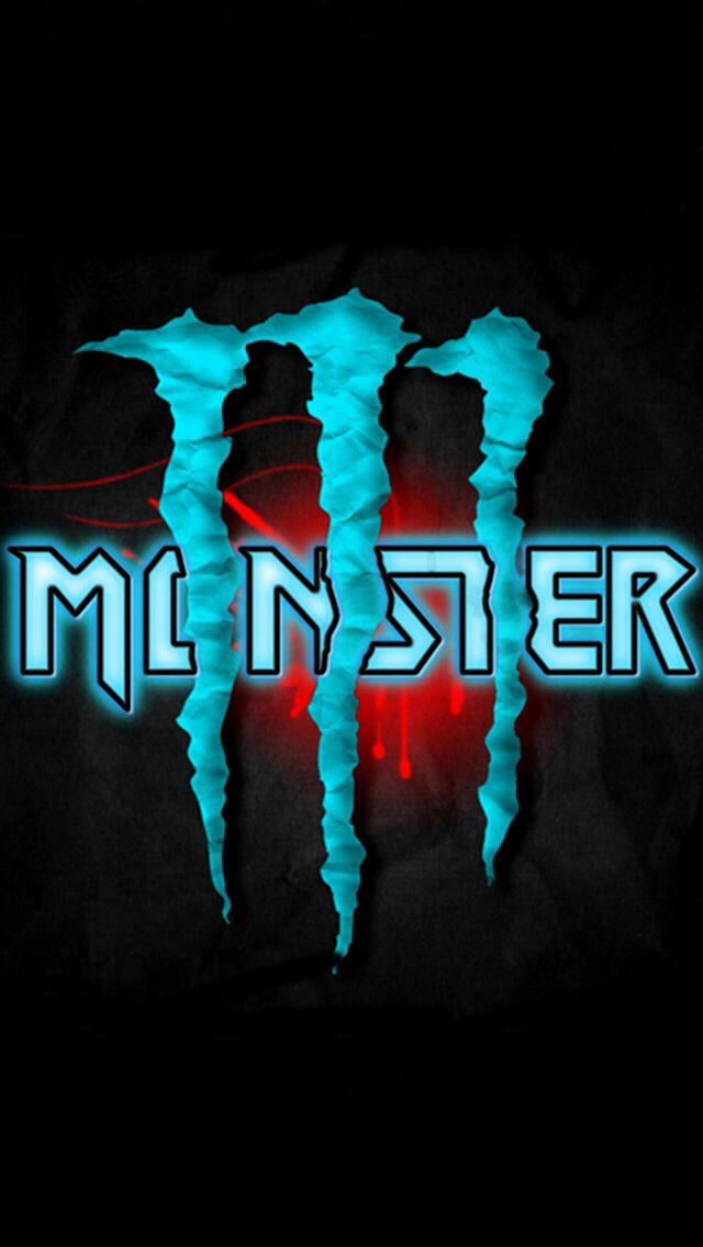 Blue and red monster energy