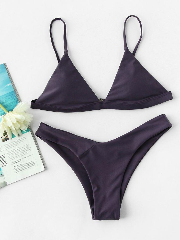 Purple Triangle Padded High Leg Bikini Set