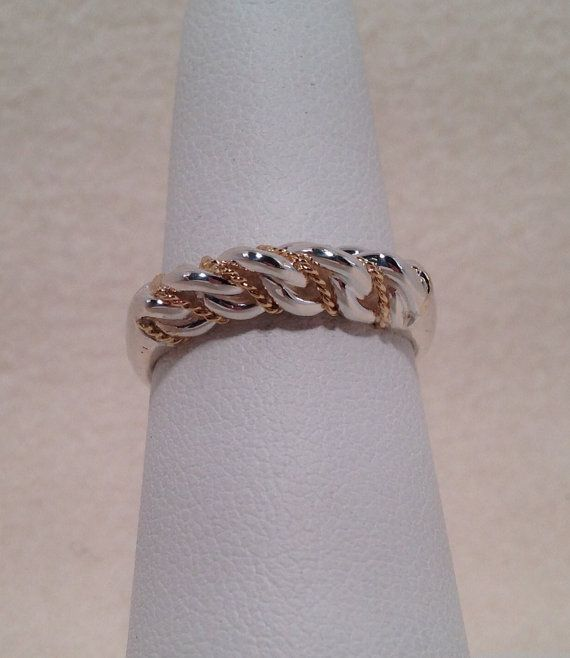 Sterling Silver And 18k Yellow Gold Nameja Gredzens, Petite, Latvian, kings ring, rope, braided, twisted, traditional, jewelry, gift-98