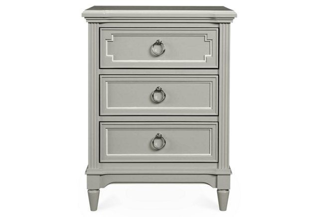 Love the white detailing on drawers!   Clementine Court Nightstand, Gray