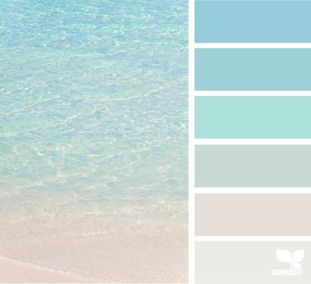 Crystal clear beaches colour swatches and design seeds for Beach house gray paint colors