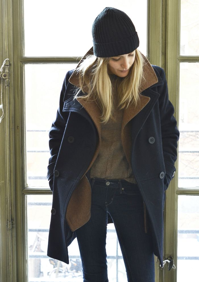 Pea coat + layers: