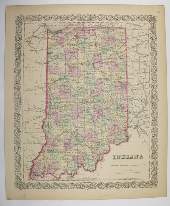 Wedding Gift For Boss: 1800s Antique Map Indiana State County Map 1859 Colton Map